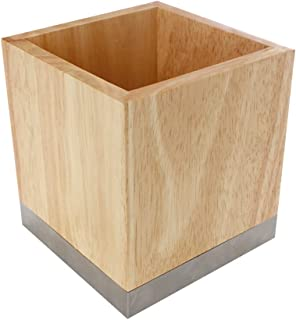 Box and Beyond Pot à ustensiles de Cuisine en Bois hévéa et Acier - 12x12x13cm