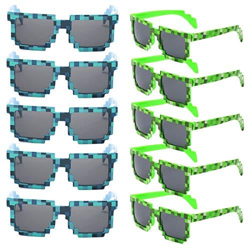 kilofly 10 x 8-Bit-Pixel-Sonnenbrillen für Gamer, für Erwachsene und Kinder, Partyzubehör Gr. One size, Grün und Blau
