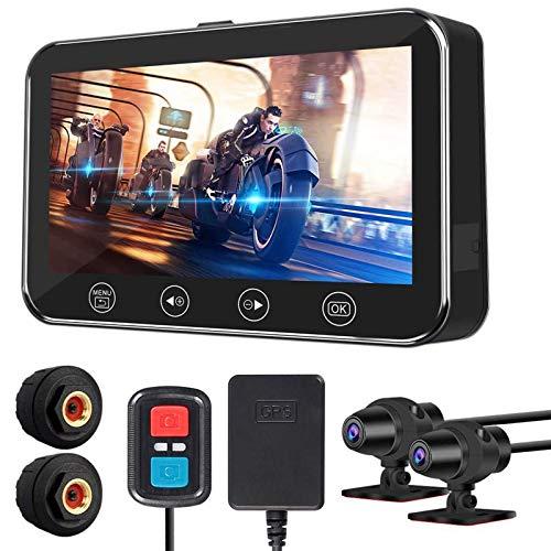 ALLWIN Cámara Grabadora Conducción Motocicletas,Cámara Salpicadero Motocicleta 4,5 ''Grabador Conducción Doble Lente 1080P 170 °,Grabación Video DVR,con Sistema Control Presión Neumáticos, GPS, WiFi