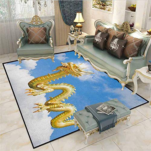 Dragon Soft Indoor Large Modern Area Rugs Traditional Chinese Dragon Hovering at Cloud Sky Cultural Symbolism Print Kids Home Decor Rugs Gold Pale Blue White 6 x 7 Ft
