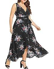 FMYONF Dames casual hoge taille afdekking buik V-hals mouwloze print plus size jurk onregelmatige rok chiffon ademende jurk