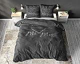 Sleep TIME Partner Bettwäsche Mr. und Mrs. 200cm x 220cm 3teilig grau - weich & bügelfrei Bettbezüge mit Druckknöpfe - graue Bettwäsche Set aus 100% Baumwolle - Verschiedene Designs