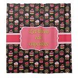 Duschvorhänge mit 12 Haken, niedliche Cupcakes auf schwarzem Hintergr&, 183 x 183 cm