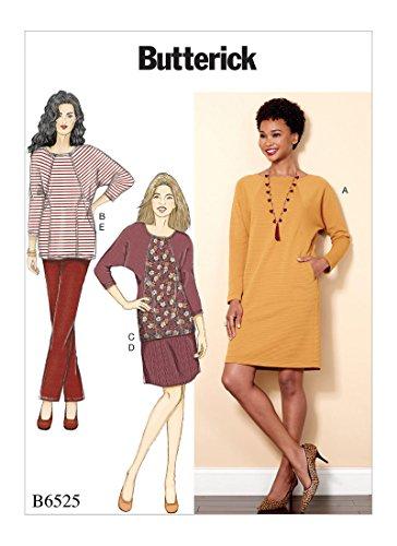 Butterick Patterns 6525ZZ 6525 ZZ Schnittmuster für Kleider/Tunika/Rock und Hose für Damen, Tissue, Mehrfarbig, 17 x 0.5 x 22 cm