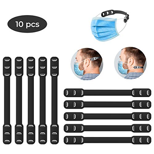 Mask Extender, Comfortable Ear Strap Extention Hook, 3 Gears Buckle Adjustable Ear Protector Holder for Relieves Ear Pressure and Pain(10 pcs Black)