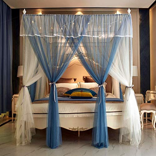 Slow Time Shop Luxury Princess Mosquito Net for Bed Double Layer 4 Corners Bed Curtain Canopy Net Canopies Bed Frame Draperies for Girls Women Kids Adults & Boys (Size : 1.8 m (6ft))