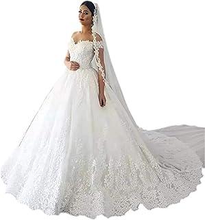 ac450337 Andybridal Gorgeous Plus Size Off Shoulder Lace Court Train Bridal Gowns Wedding  Dress for Bride 2019