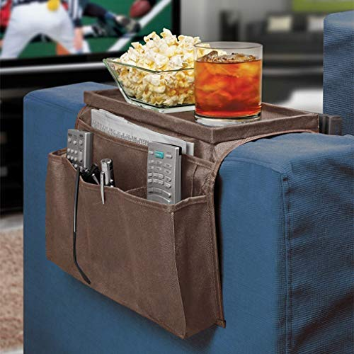 Arm Rest Organiser 6 Pocket Hanging Sofa Storage Bag Cup Mug Holder Tray Armchairs Couch Caddy Organiser TV Remote Control Phone Drink Board Foldable Chair Tidy Table Space Saver Set Home Companion