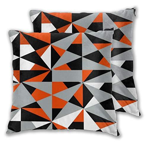 Juego de 2 fundas de cojín geométricas negritas retro funky naranja negro blanco fundas de almohada decorativas cuadradas fundas de almohada para recámara sala de estar Car18 x 18 pulgadas
