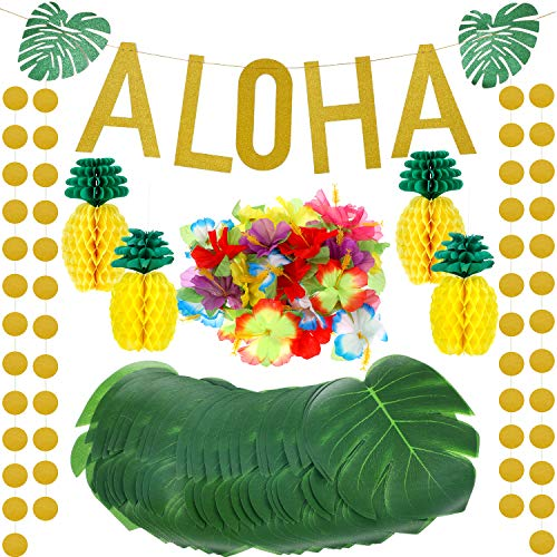 143 Pieces Hawaiian Tropical Luau Theme Party Decorations Set, Include Tissue Paper Pineapples, Tropical Palm Simulation Leaves, Artificial Hibiscus Luau Flowers, Gold Glittery Aloha Banner