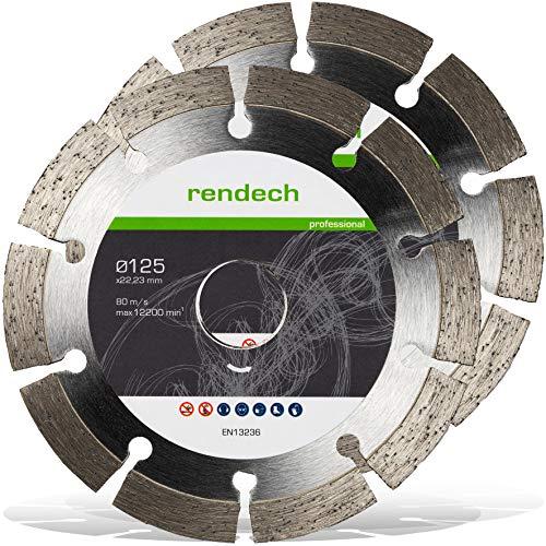 2x Rendech® Diamantscheibe 125mm für Beton, Stein, Granit uvm. Diamanttrennscheibe in Profi Qualität (Trennscheibe für Winkelschleifer Ø 125x22,23)