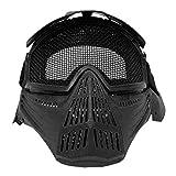 Maschera Soft Air Nera Protezione Totale Viso con Rete Accessori Softair