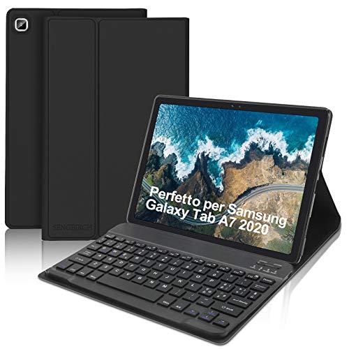 SENGBIRCH - Teclado con funda para Samsung Galaxy Tab A7 2020 10,4 pulgadas (SM-T505/T500/T507), teclado italiano Bluetooth con ligero funda protectora Smart Cover con auto despertador/sueño, negro