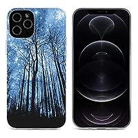 星空の下の森 Forest Star Sky iPhone 12&iPhone 12 Pro&iPhone 12Pro Max&iPhone 12 miniと互換性のあるクリスタルクリアTPUケース、アンチイエロー、保護耐衝撃落下保護ケース