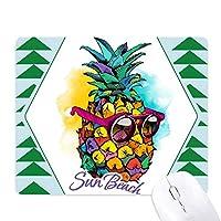 トロピカルフルーツpineappleスタイルサングラス オフィスグリーン松のゴムマウスパッド