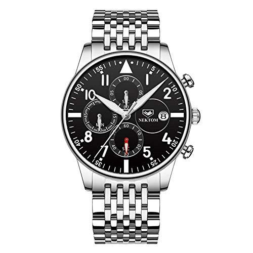Herrenuhren Quarz Armbanduhr für Männer wasserdichte Multifunktionsuhr für Herren Kleid-A