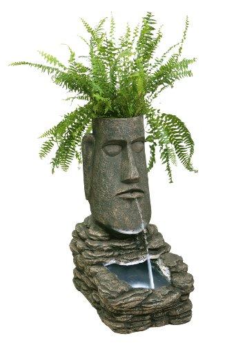 Primrose-Italia Fontana Solare a Forma di Moai (Scultura dell'Isola di Pasqua) con Fioriera e Luci a LED