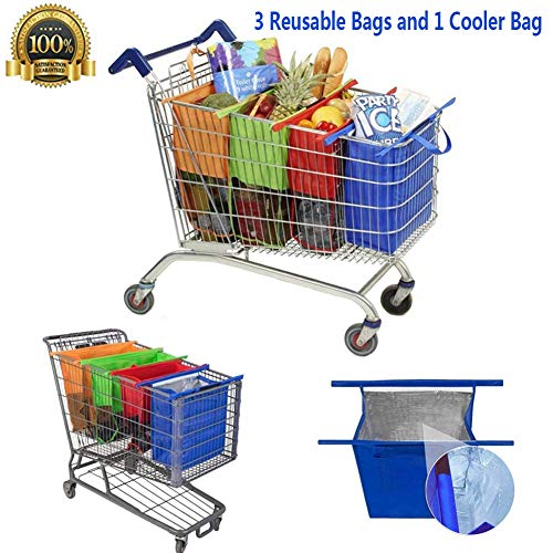 Salandens Bolsas Reusables – Kit de 4 bolsas reusables en colores Naranja, Verde, Morado y Azul….