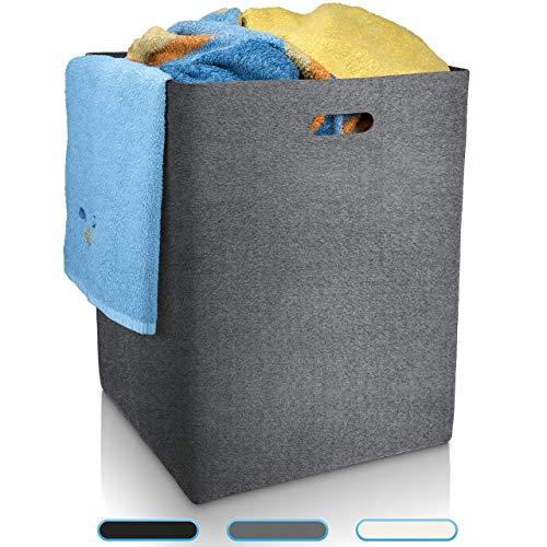 Fit Guru Wäschekorb Grau XXL edler Wäschesammler aus hochwertigem Filz große und universell einsetzbare Wäschetonne Aufbewahrungskorb groß 120L Filzkorb Kaminholz Wäschekorb Kinderzimmer