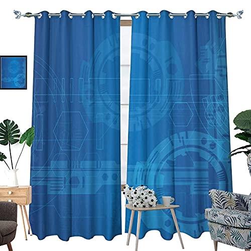 DRAGON VINES Cortinas opacas de líneas azules, con aislamiento térmico para dormitorio, sala de estar, 2 piezas, tamaño total 107 x 160 cm