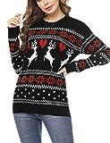 Doaraha Jersey Suéter de Navidad para Mujer Manga Larga Suéteres Invierno de Cuello Redondo Ugly Christmas Sweater Pullover de Punto Jerséis Blusa Navideños Regalo de Año (Negro, S)