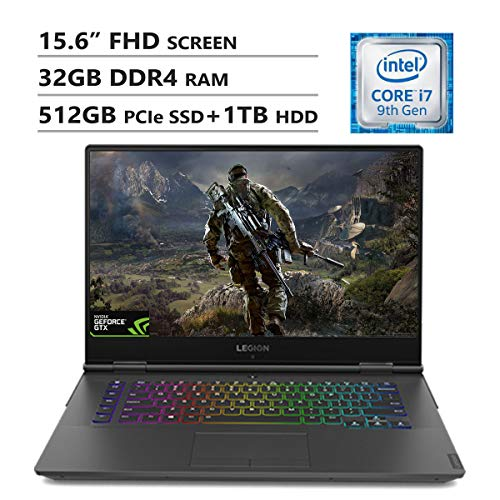 "Lenovo Legion Y740 15.6"" Full HD Screen Gaming Laptop, Intel Core i7-9750H Up to 4.5GHz, GTX 1660Ti, 32GB DDR4 RAM, 512GB PCIe SSD, 1TB HDD, Bluetooth, HDMI, USB 3.1, USB Type-C, Windows 10, Black"