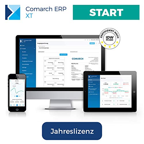 Comarch ERP XT – einfaches Rechnungsprogramm für Kleinunternehmer, Selbständige, Freelancer, Handwerker, Dienstleister – aus der Cloud – viele Funktionen – Paket RECHNUNGEN (Jahreslizenz)