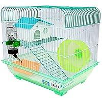 DI ZE LIN PET HOME S.L DZL® Jaula para Hamster 34.5 * 26 * 32cm con caseta Bebedero comedero Rueda y Escalera (Verde)