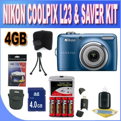 Affordable Nikon Coolpix L23 Digital Camera – Blue (10mp, 5x Optical Zoom) 2.7-inch LCD W/4GB SDHC Memory + Set of Rechargeable Batteries + Ac/Dc Charger + USB Card Reader + Memory Card Wallet + Shock Proof Case w/Strap + Accessory Saver Bundle!