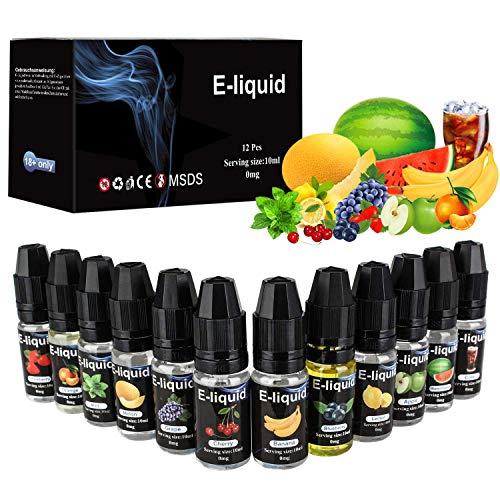 E Liquids 12 X 10ml, E-liquids ohne Nikotin, 12 Aromen E-Zigaretten Liquid Set 50PG/50VG Refill Electronic Cigarette, für E Zigaretten/Elektrische Zigarette/E Shisha (MEHRWEG). …