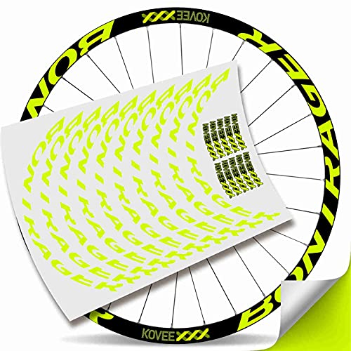 Kit Pegatinas Bicicleta Stickers LLANTA Mavic Crossmax Pro Carbon 29' BTT MTB Bike (Amarillo Fluor)