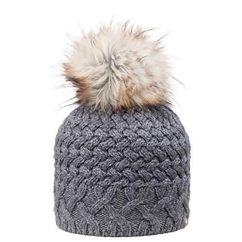 GIESSWEIN Longbeanie Wunspitze - Damen Merino Mütze mit Kunstfell Bommel, Warm gefütterte Wintermütze für Frauen, Strickmütze
