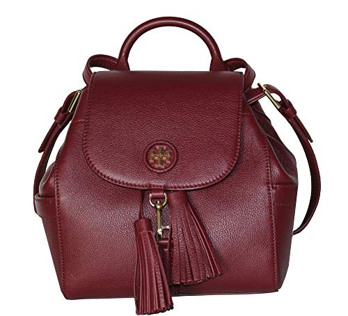 Tory Burch Whipstitch Logo MINI BACKPACK Leather Bag 48362 (Imperial Garnet)