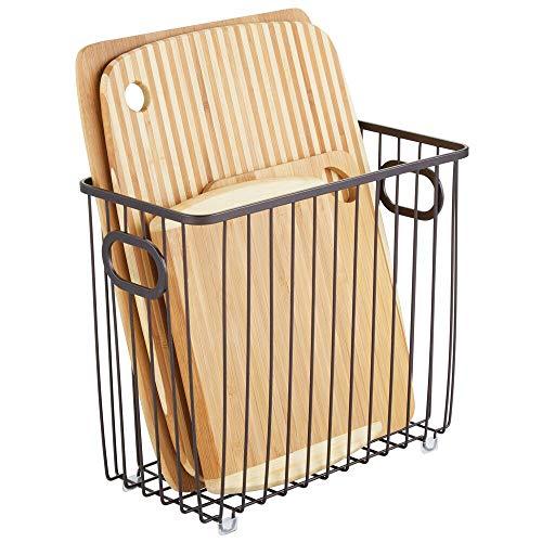 mDesign Cesta de metal para cocina – Versátiles organizadores de cocina o despensa – Cesto de alambre compacto y universal con asas integradas – color bronce