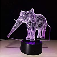 3D LED錯視ランプ 男の子と女の子のためのホームデコレーションかわいいギフトとして7色のエレガントな象アメージングナイトライト