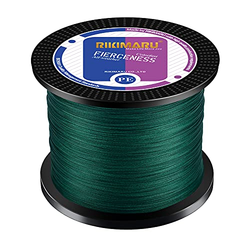 RIKIMARU Braided Fishing Line Abrasion Resistant Superline Zero Stretch&Low Memory Extra Thin Diameter Green 327Yds,30LB