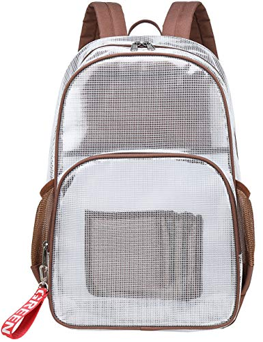 Mygreen Clear Transparent PVC School Backpack/Outdoor Backpack with Black Trim (Coffee, Large)