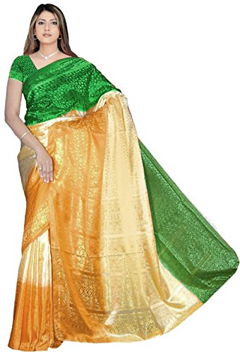 Trendofindia Bollywood Fashion Sari Stoff Abendkleid Tricolor Grün Gold Orange CA127