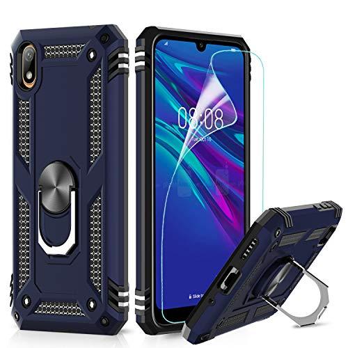 LeYi Hülle für Huawei Y5 2019 / Honor 8S Handyhülle,360 Grad Militärische Rüstung Cover TPU Magnetische Bumper Schutzhülle mit HD Folie Schutzfolie für Case Huawei Y5 2019 Handy Hüllen Dunkelblau