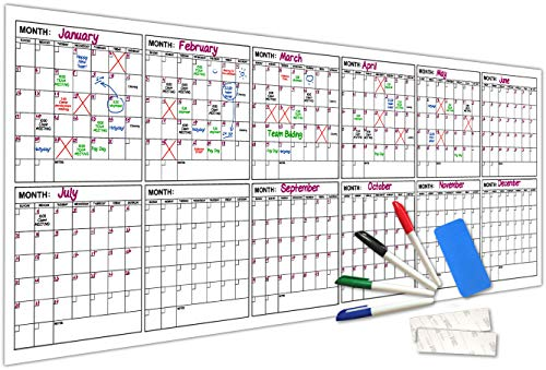 "Jumbo Dry Erase Yearly Calendar 100"" X 36"" 12 Month Reusable Wall Planner Includes 4 Markers 1 Eraser and Mounting Tape…"