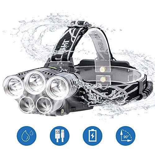 Linterna Frontal, BETECK Linterna de Cabeza 15000LM Recargable USB 6 Modos de Luz 5 LED, IPX4 Impermeable para Camping, Pesca, Ciclismo, Carrera, Caza