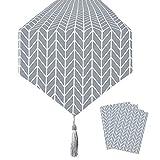 Qsum, Runner da tavola in cotone e lino, motivo geometrico grigio, Lino Cotone, Grigio, 28×180cm