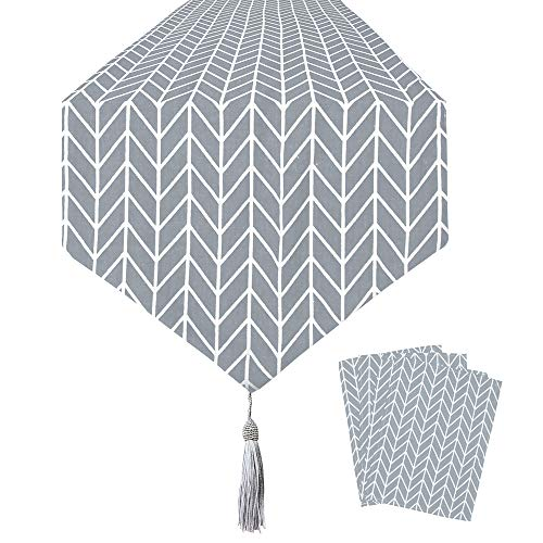 QSUM Table Runner Grey + 4pcs Placemats - Geometry Thickly Cotton Linen Table Cloth, for Kitchen Home Tablecover, Bedding Dining Room Party Holiday Decoration (grey)
