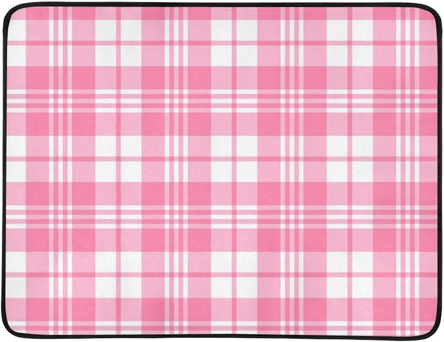 Pink Plaid Portable and Foldable Blanket Mat 60x78 Inch Handy Mat for Camping Picnic Beach Indoor Outdoor Travel