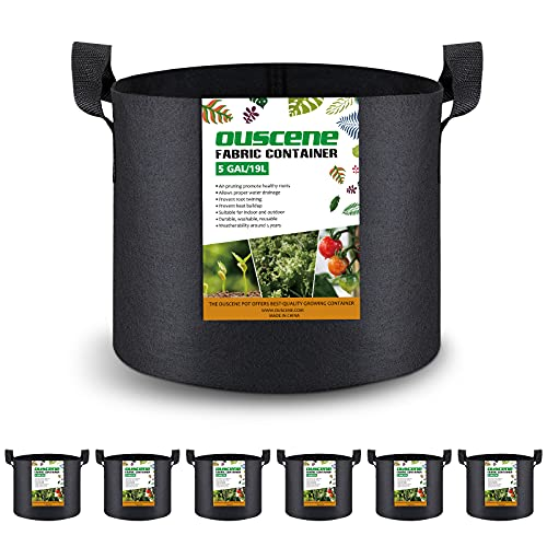 OUSCENE 6 Pack 5 Gallon Plant Grow Bags, Heavy Duty Planting Pots Heavy Duty Thickened Planter Container Nonwoven Fabric Garden Vegetable Growing Bags with Handles