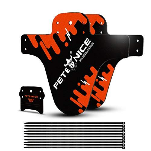 "FETESNICE 2Pcs Mud Guard Plus 26\"" 650B 27,5\"" 29\"" MTB Schutzblech Spritzschutz Bike Fahrrad MTB Kabelbinder (Orange)"
