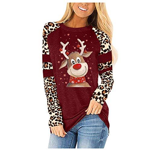 VEMOW Damen Pullover Weihnachten Santa Elch Druckmuster Oberteile Bluse Langarm...