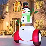 TURNMEON 10 Feet Giant Christmas Inflatables Snowman Christmas Outdoor Decoration with LED Lights Stakes Tethers Christmas Inflatable Outdoor Decoration Blow Up Holiday Yard Decoration