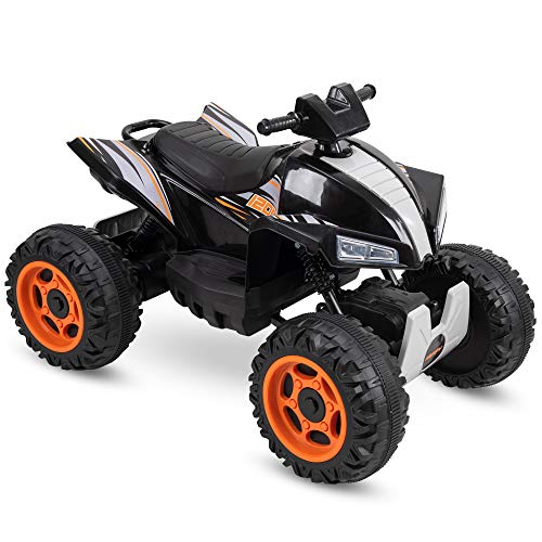 Huffy Kids Electric Battery-Powered Ride-On ATV Truck W/Lights, Sounds & MP3 Player, Black (17299P)