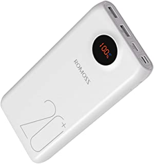 18W Power Bank, ROMOSS 20000mAh Portable Charger, with 3-Port Charge and Recharge, External Battery Pack Fast Charge compa...